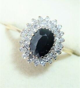 9ct Gold Sapphire & 0.33ct Diamond Halo Cluster Ring, Size N1/2, Diana Style