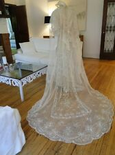 "ANTIQUE LACE- CIRCA 1900, IMPRESSIVE 115"" BRUSSELS PRINCESS LACE WEDDING VEIL"