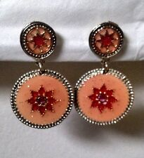 NEW Authentic Agatha Paris Pink Enamel Pierced Dangle Earrings