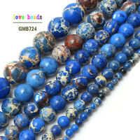 Natural Blue Sea Sediment Jasper Gemstone Round Beads 15.5'' 4mm 6mm 8mm 10mm