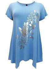 NEW Ivans plus size 22/24 26/28 30/32 34/36 blue silver foil print tunic top
