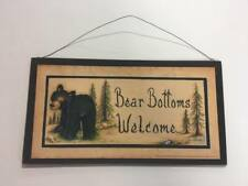 bear bottoms welcome Country Bathroom Sign Outhouse black bears cabin decor art