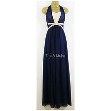 Little Mistress Blue Beaded Chiffon Maxi Dress Size 8 New £85 Party Prom Tall