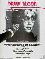 "1978 Warren Zevon  ""Werewolves Of London""  Classic Single Release Promo Ad Print"