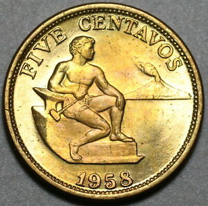 1958 Philippines 5 Centavos Choice BU US Design Coin (20101801R)