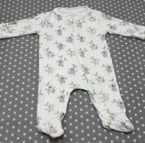 Unisex Baby Boys Girls Jojo Maman Bebe Koala Babygrow 0-3 Months Sleepsuit Zipup