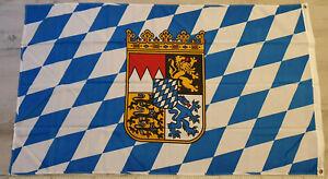 Flagge Fahne Bayern mit Wappen Bundesland 150 x 90 cm