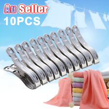 10pcs Stainless Steel Clothes Pegs Laundry Windproof Clamp Hanging Clips Pins