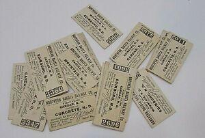 20 Antique 1910's Northern Dakota Railway 1st Class Passenger Tickets FREE S/H