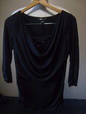 AB Studio black Stretch Dressy Embellished Tunic Size S Clubbing Stepping Out