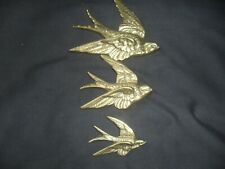 More details for vintage brass wall hanging graduated set of 3 flying swallows/swifts birds