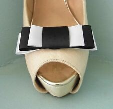 2 Handmade Black & White Triple Bow Clips for Shoes