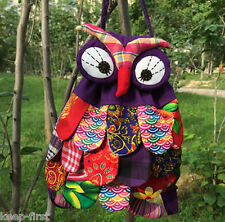 Fashion Cartoon Cute Owl Design Backpack Patchwork Purple Colourful Shoulder Bag