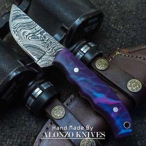 ALONZO USA CUSTOM HANDMADE DAMASCUS  HUNTING SKINNING  KNIFE CORELON 23134
