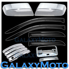 14-15 Silverado 1500 Chrome Mirror+4 Door Handle+Tailgate Cam+Smoke Window Visor