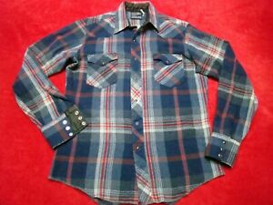 Wrangler Men's 15 1/2 35 Cowboy Cut Long Sleeve Blue Red Plaid Wool Snap Shirt