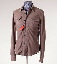 NWT $2695 ISAIA NAPOLI Light Brown Soft Goat Suede Shirt-Jacket 48/S Leather