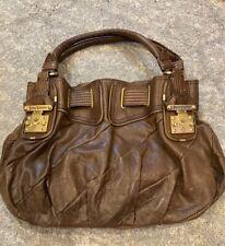 JUICY COUTURE Medium Brown Leather Shoulder Hobo Tote Satchel Purse Bag