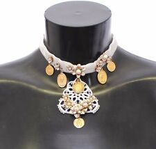 NWT $1150 DOLCE & GABBANA Charm Necklace Gold Brass Floral Sicily CEREMONIA Coin