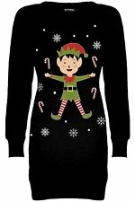 Womens Christmas Printed Ladies Xmas Fleece Sweatshirt Long Tunic Jumper Dress