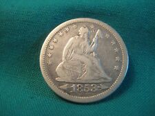 1853-P Seated Liberty 90% Silver 25c-with Arrows/Rays-VF Condition-#3