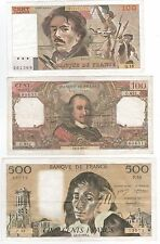 SET OF 3 CLASSIC FRENCH BANKNOTES.