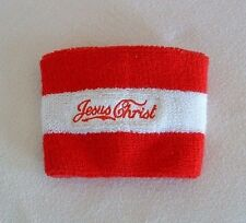 """JESUS CHRIST WRIST / ARM BAND Red White Elastic """"Knitting"""" WEAR YOUR FAITH"""