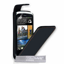 Best New HTC Desire 500 Black PU Faux Leather Magnetic Clasp Phone Case Cover UK