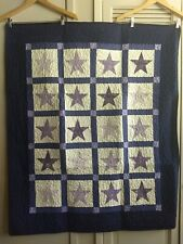 Contemporary Star Quilt -All Cotton with Hand Silk Screened Star Squares Purples