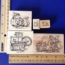 lot of 5 Halloween Hedgehogs Rubber Stamps~Mouse Bob for Apples~Trick or Treat