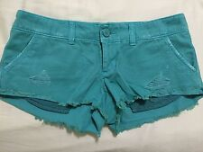 "American Eagle Women's SZ 0 Blue Green Shorts 30"" Waist 100% Cotton"
