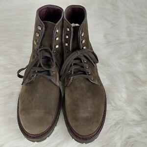 Allen Edmonds Higgins Mill Olive Green Suede Plain Toe Boots Soles Men's Sz 11 D