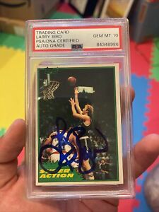Autographed Larry Bird 1981 Topps Super Action Card PSA 10 Signature Signed