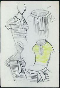 PIERRE BALMAIN Original drawing old Fashion Scketch ART COUTURE Paris unsign 07