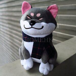 Shiba Inu Dog Doll Black Large Plush Stuffed Fur Curly Toy Doge Puppy Japan Gift