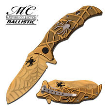 "8.5"" GOLD SPIDER SPRING ASSISTED FOLDING KNIFE Blade pocket open switch"