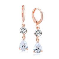 Fashion Women Drop Dangle Cubic Zirconia Circle Ear Hoop Huggie Earrings Jewelry