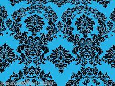 Taffeta Fabric By The Yard Blue Damask Fabric Turquoise Fabric Sewing Fabric New