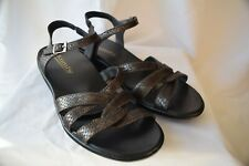 Kumfs, chocolate brown leather sandals...snake skin print...size 39...excellent