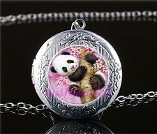 Cute Baby Panda Cabochon Glass Tibet Silver Locket Pendant Necklace#C33