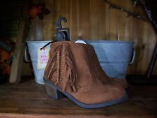 FADED GLORY GIRLS ANKLE BOOTS SIZE 6 BROWN ZIPPER SIDE FRINGES KIDS CASUAL SHOES