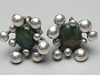 Große Silber Ohrschrauben mit grünen Natursteinen besetzt 800 Silber /A64