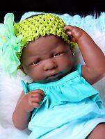 "SUPER DEAL BABY GIRL AFRICAN AMERICAN DOLL REBORN BERENGUER 14"" VINYL SILICONE"