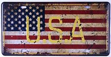 Vintage Metal Tin Signs American Flag Car License Plate Wall Decor Plaque Poster