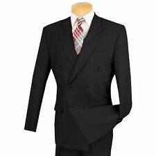 LUCCI Men's Black Double Breasted Classic Fit Poplin Polyester Suit NEW