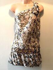 Kenzo - Beige Grey Taupe Pink Silk One Shoulder Mini Dress Jewel Embellishments