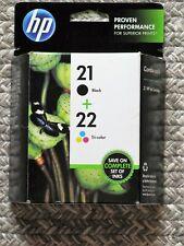 HP 21 Black & HP 22 Tri-color Ink Cartridges *New Genuine OEM*