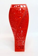 RED VINTAGE   DECO MODERN DECORATIVE SCULPTURE DESIGN VASE TWISTED UNIQUE TRENDY