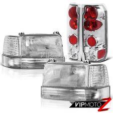 92-96 Ford F150 F250 F350 Bronco Chrome Rear Tail Lights Clear Bumper Headlights