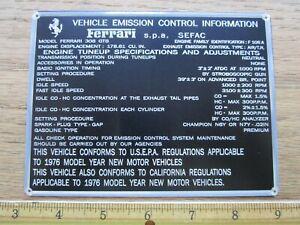 FERRARI Data Plate Emission Control Information Metal Plaque 308 GTB